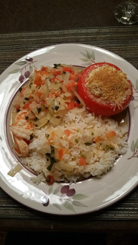 Brazilian style rice, tomate recheado, and shrimp moqueca