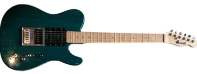 Self-built guitar based around 3 Seymour Duncan P-Rails pickups. 3 way switches for each pickup allow any combination of single-coil, humbucker and P-90 style. Kind of like a non-digital Variax.