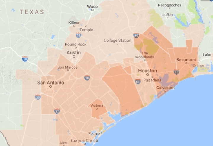 Web tools to track weather  flooding and natural disasters in Texas     Google map of public safety alerts