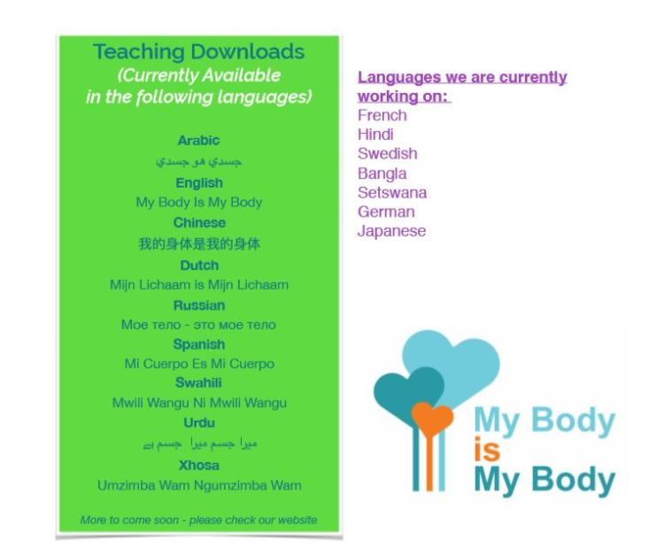 My Body is My Body program by Chrissy Sykes - download in many languages available