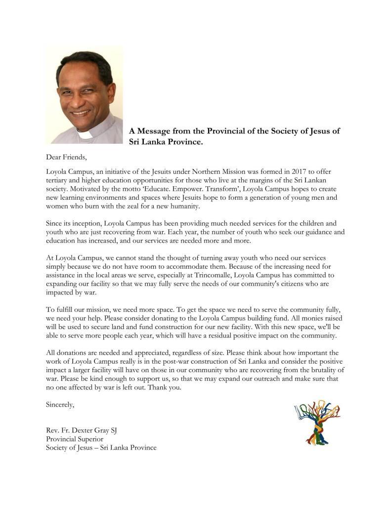 Rev Fr Dexter Gray SJ - Provincial Superior Society of Jesus Sri Lanka - on education opportunities for those who live at the margins of the Sri Lankan society