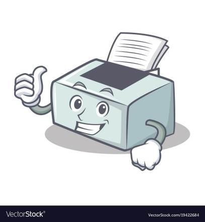 Thumbs up printer character cartoon style vector illustration