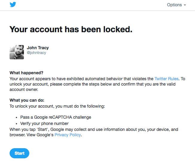 I just got locked out of Twitter for including @FBI – John Tracy