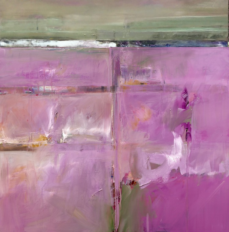 John Waller Mallee abstraction (pink) Oil on Linen 107 x 107cm 2020