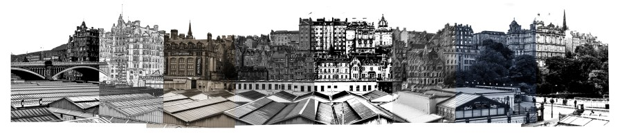 00068Edinburgh Old Town Skyline bw Variations