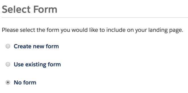 Pardot - Landing Page, No Form
