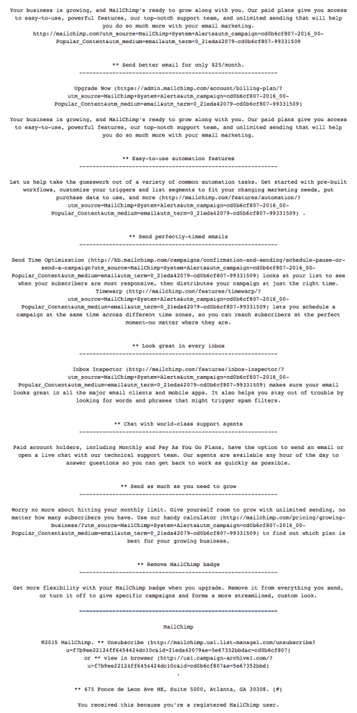 The very long text version of the Awesome Monochrome MailChimp Email.