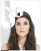 Philip Treacy Asymmetric Neutral Bow Headpiece