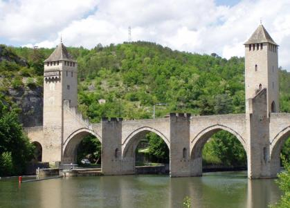 Cahors - two of the three towers on the bridge