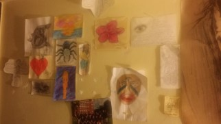 Her wall of drawings