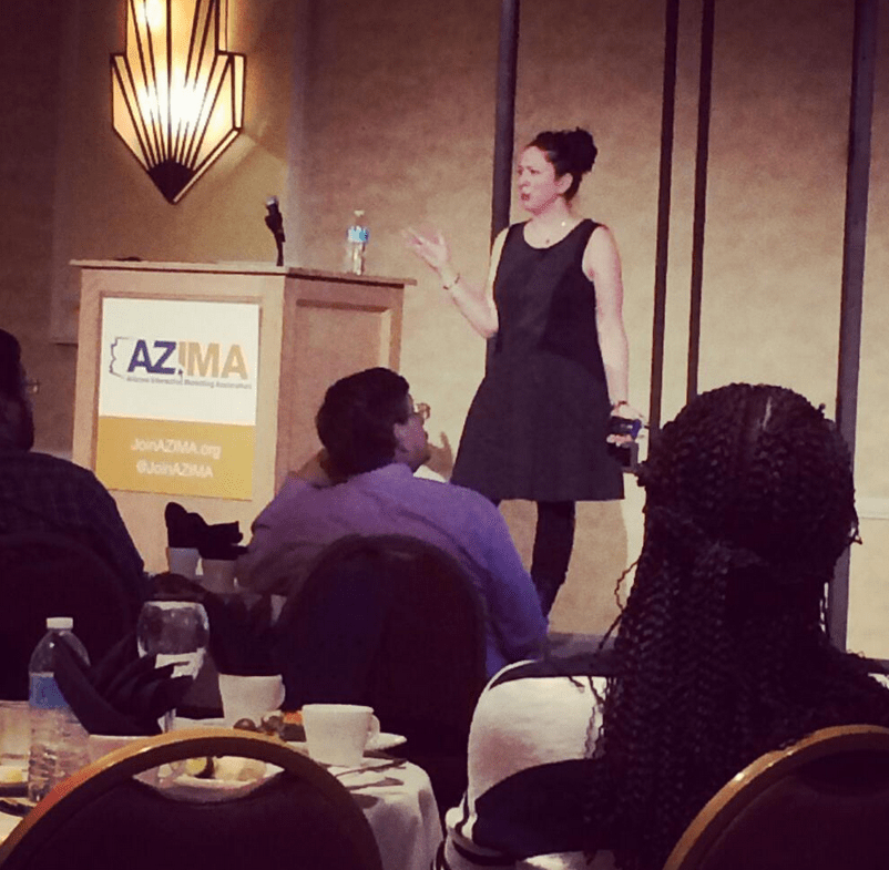 Jodi Gersh, from Gannett and USA Today, at February's AZIMA event. Photo; Cody Landefeld