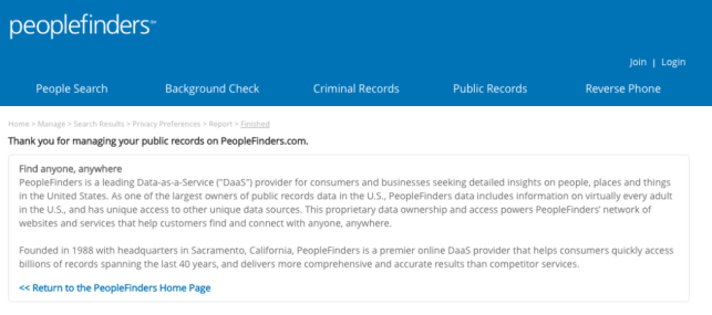 remove yourself from public records now peoplefinders opt out removal