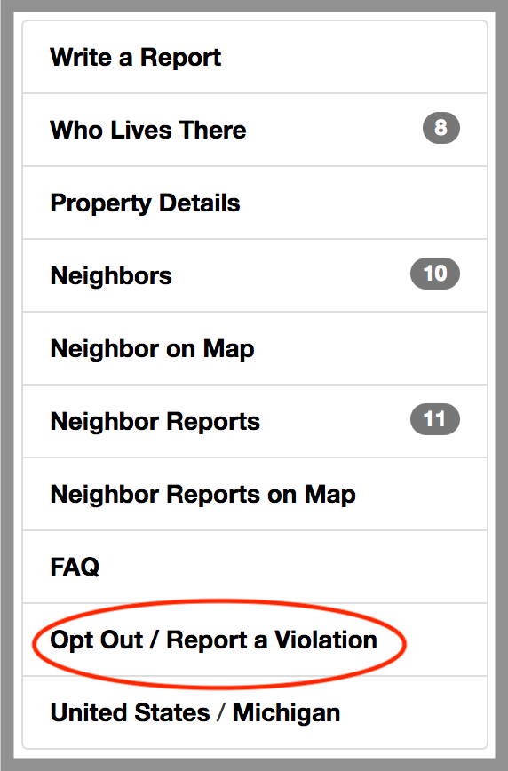 remove yourself from neighbor report opt out removal