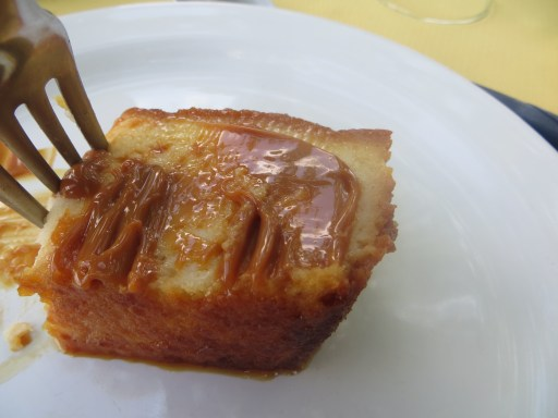 Bread pudding with dulce de leche