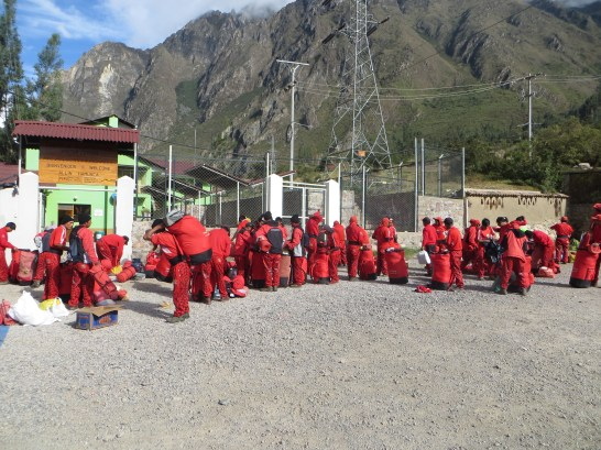 """The """"Red Army"""" of porters loading up"""