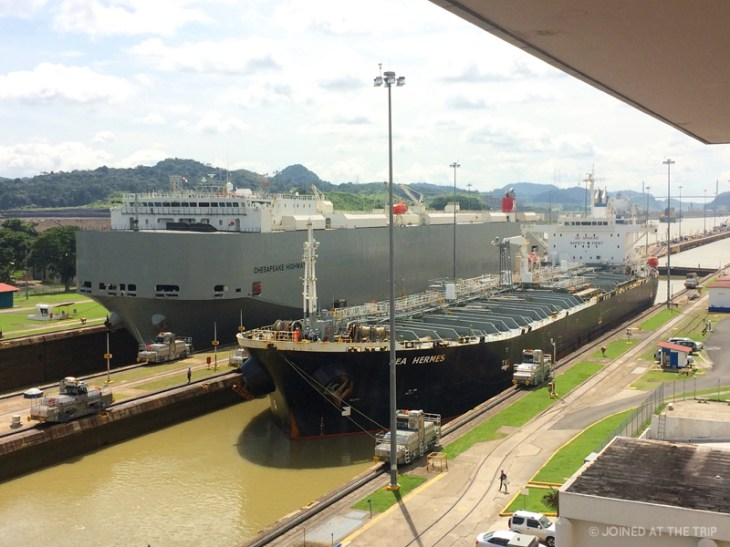 Ships passing through the Panama Canal