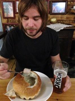 Soup in a bread bowl