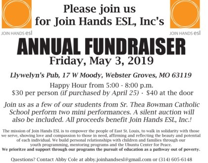 Annual Fundraiser on Friday, May 3