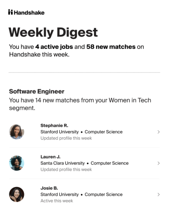 Candidate hub weekly digest email for recruiters
