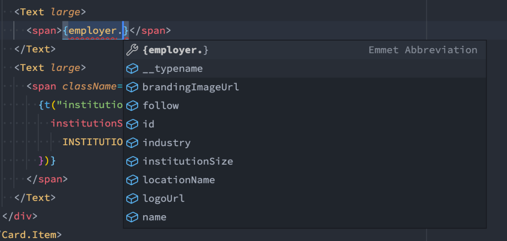Screenshot showing how TypeScript interfaces help us to have a better explorability on our data structure