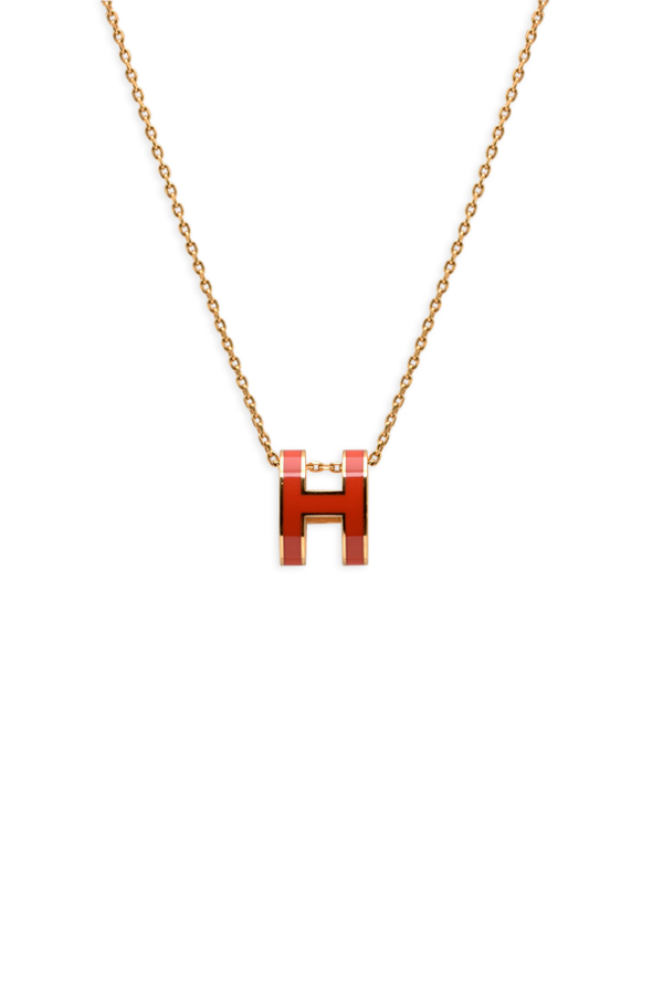 Hermes Pop H Necklace Orange Coral And Gold Rent Hermes