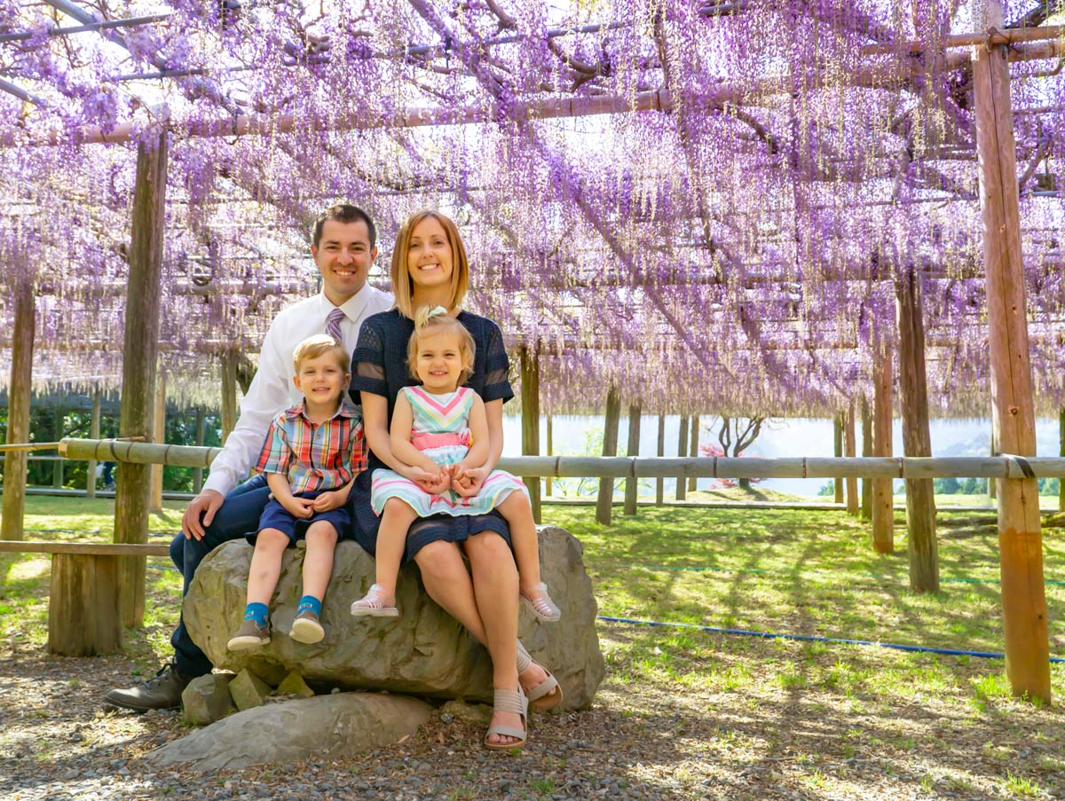 family portrait at Wisteria tunnels