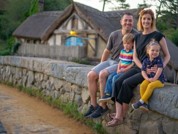 Hobbiton family picture on bridge