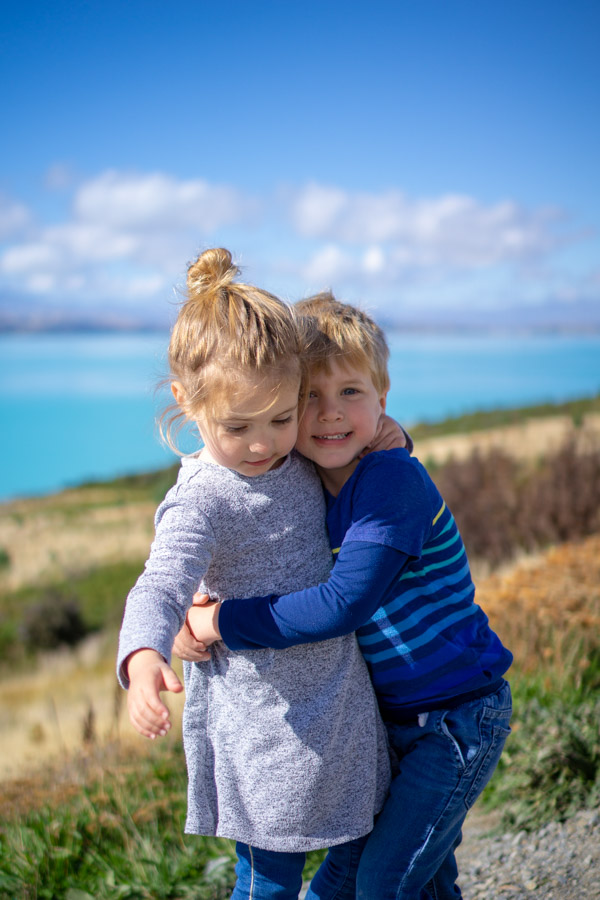 Kids Hugging at Lake Pukaki