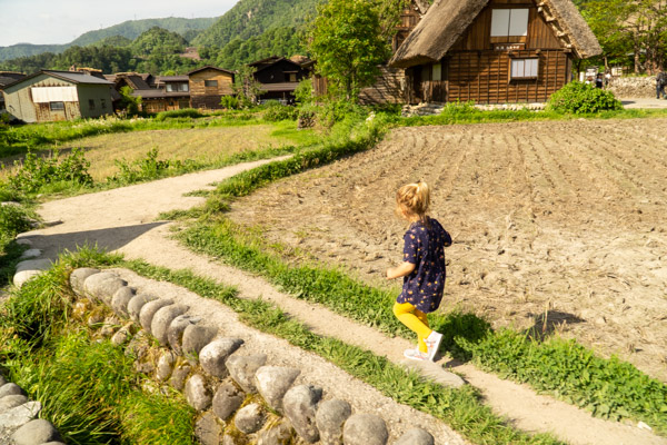 Lake Biwa Girl running Shirakawa