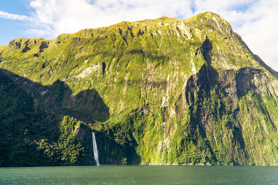 Milford Sound Cliffs and waterfall