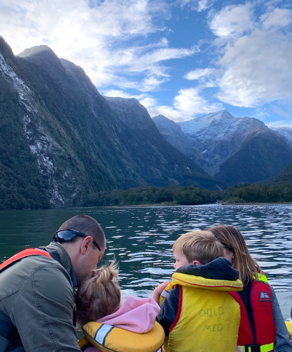 Milford Sound Family on a small boat