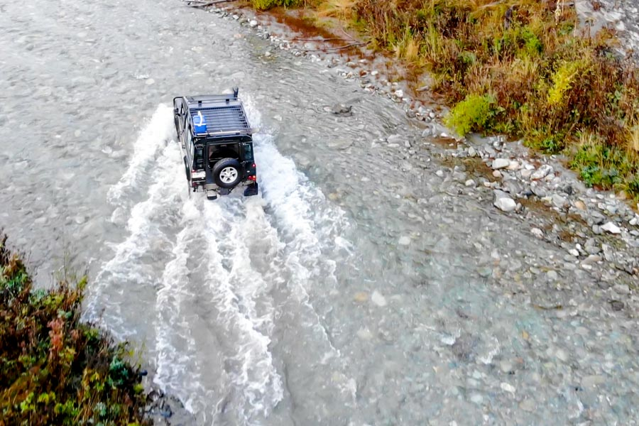 Nomad Safaris river crossing in the defender