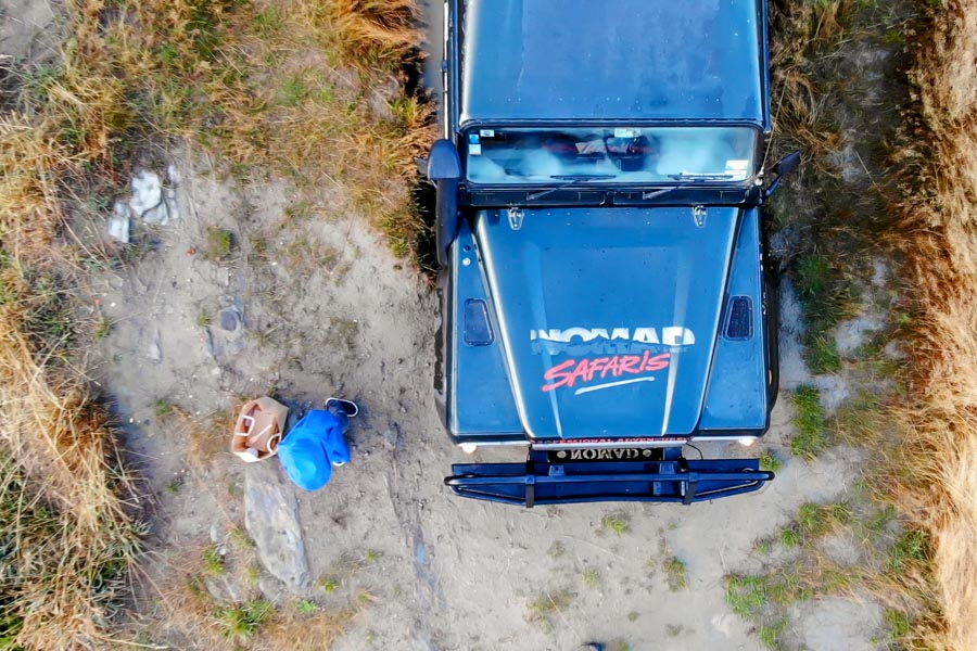 Nomad Safaris view from the drone of the top of defender