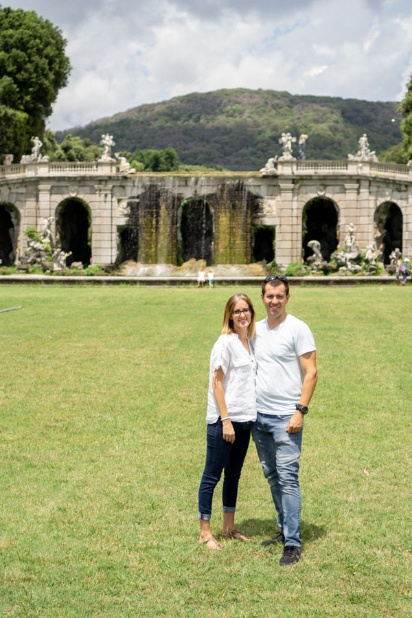 Caserta Palace couple by fountains