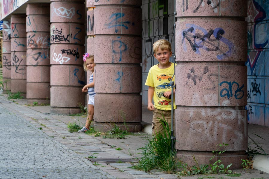 Berlin with kids and graffitied walls