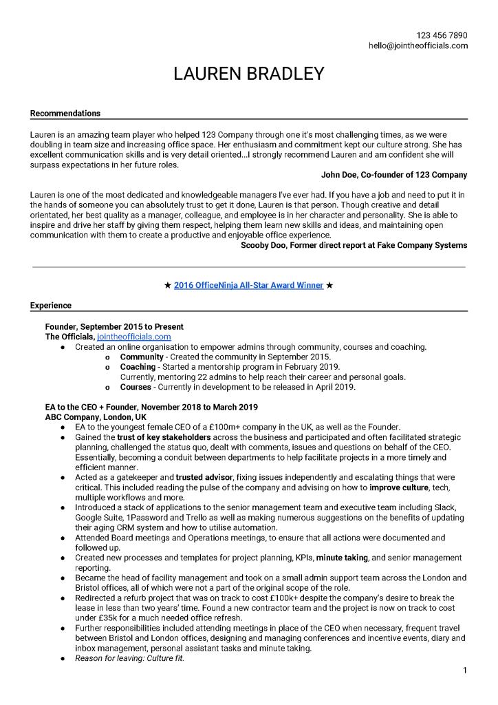 Sample Master Resume