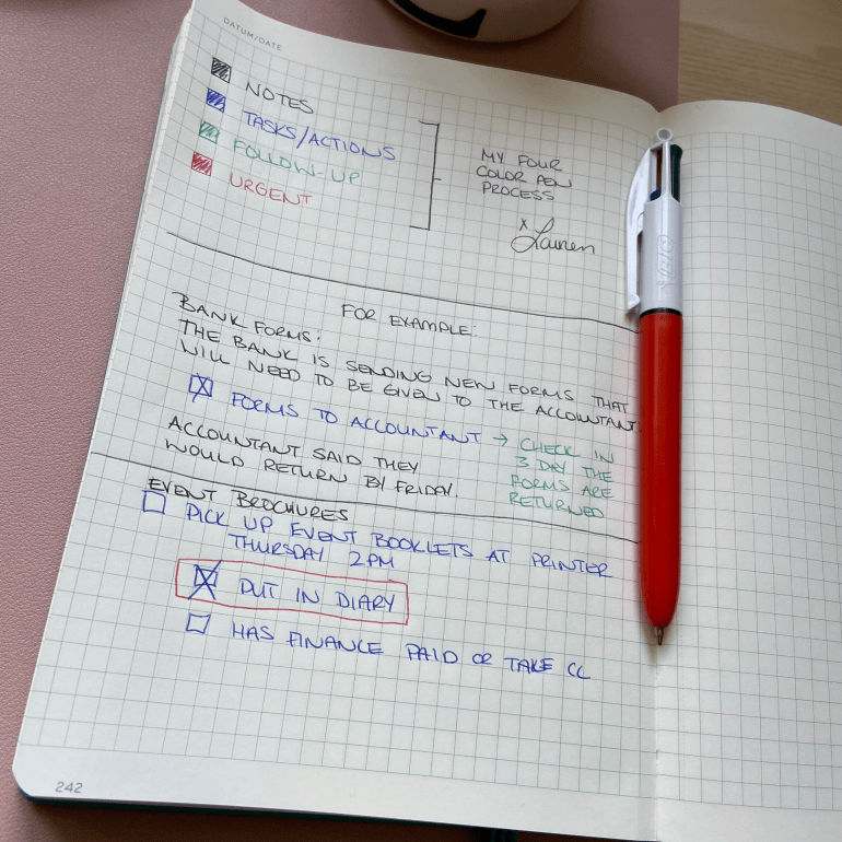 The Four Color Pen Process for Note Taking for Admins and Assistants