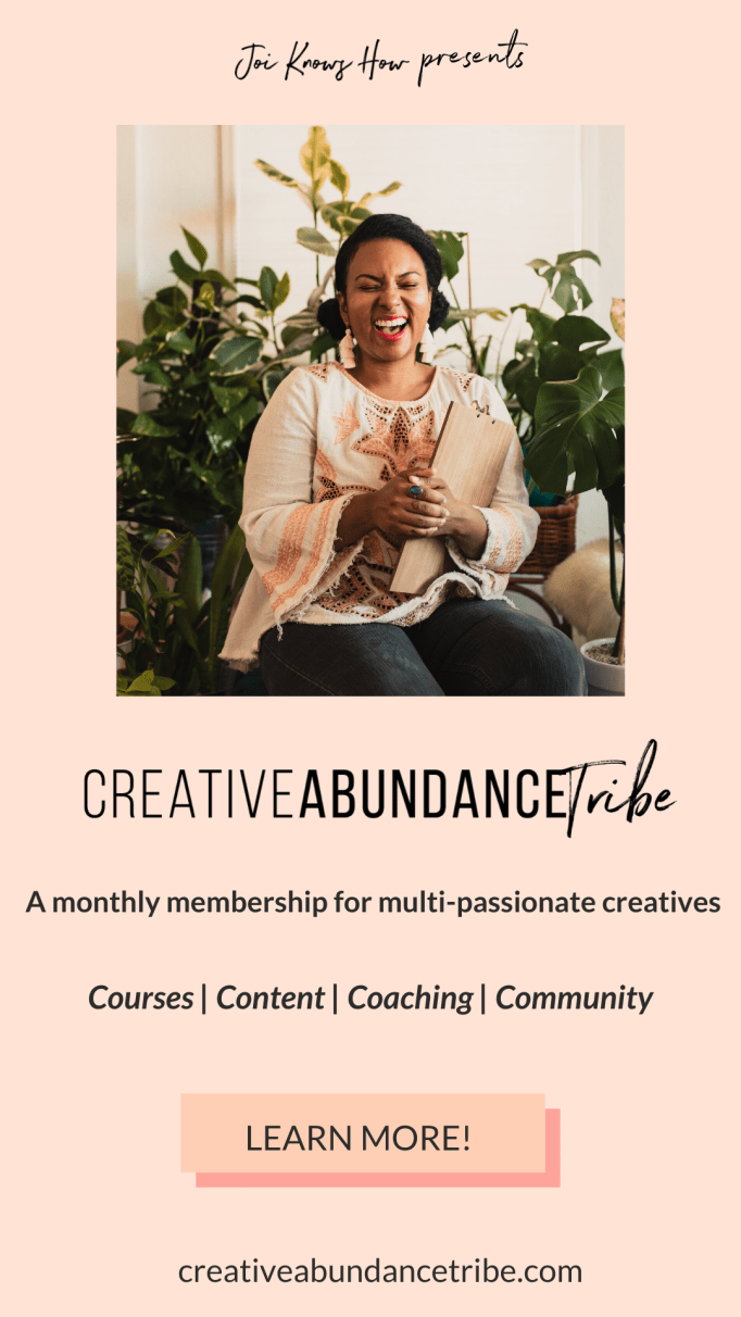 Join the Creative Abundance Tribe Membership for multi-passionate creatives. Learn how to create a personal brand where you can show up with creative confidence. Go from feeling all over the place and distracted by having many passions to building a personal brand and defining your own niche. Perfect for creative entrepreneurs who want to bring their creativity to the forefront of their businesses.