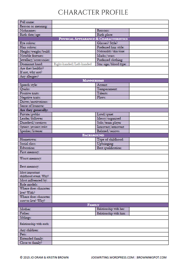 Character Profile And Interview Worksheet