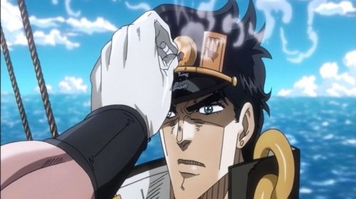 ジョジョ アニメ 第三部 第6話 承太郎 タバコを消される