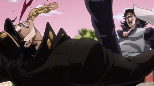 ジョジョ アニメ 第三部 第17話 承太郎を蹴り飛ばすダン