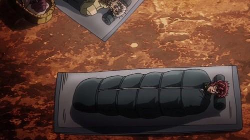 ジョジョ アニメ 第三部 第20話 寝袋で寝る花京院とジョセフ