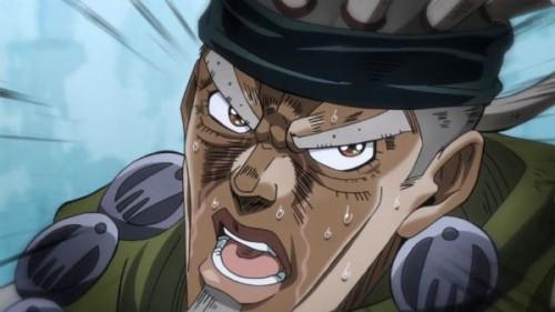 ジョジョ アニメ 第三部 第21話 謎の男のアップ
