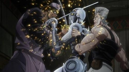ジョジョ アニメ 第三部 第29話 余裕で攻撃を受けるポルナレフ