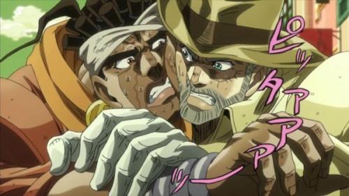 ジョジョ アニメ 第三部 第31話 くっついたジョセフとアヴドゥル