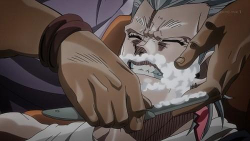 ジョジョ アニメ 第三部 第28話 切れ味悪いカミソリに怒るポルナレフ