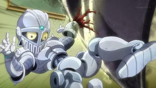 ジョジョ アニメ 第三部 第33話 斧で攻撃を受けたチャリオッツ