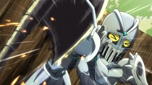 ジョジョ アニメ 第三部 第32話 斧を受け止めるちびチャリオッツ