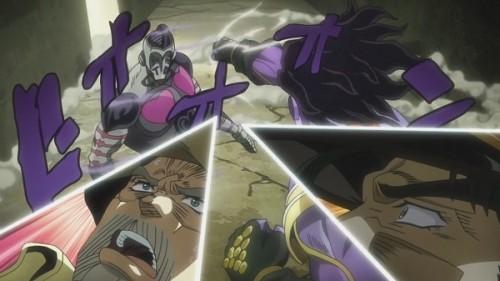 ジョジョ アニメ 第三部 第40話 スタプラのパンチを避けるアトゥム神