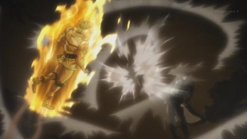 ジョジョ アニメ 第三部 第47話 拳圧で舞い上がる二人